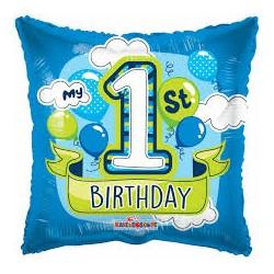 Palloncino 1° compleanno azzurro e verde