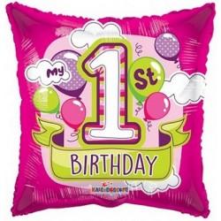 Palloncino 1° compleanno rosa e verde