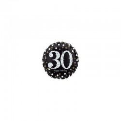 Palloncino 30 anni nero, bianco e gold sparkling holographic