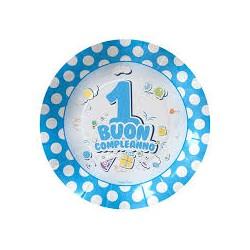 Palloncino Buon 1° compleanno celeste con pois