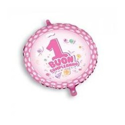 Palloncino Buon 1° compleanno rosa con pois