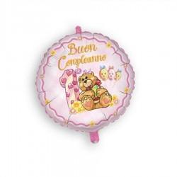 Palloncino Buon 1° compleanno rosa tondo