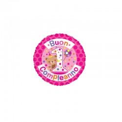 Palloncino Buon 1° compleanno teddy fucsia