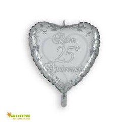 Palloncino cuore argento Buon 25° Anniversario