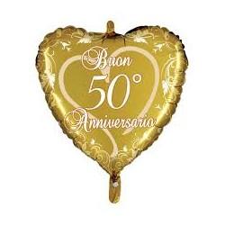 Palloncino cuore Buon 50° Anniversario