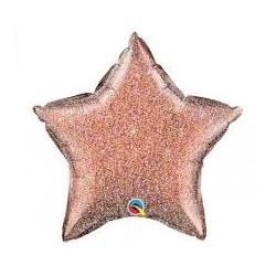Palloncino stella rosa gold glitter
