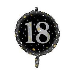 Pallone 18 anni nero e argento sparkling