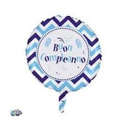 Pallone buon compleanno bianco e azzurro