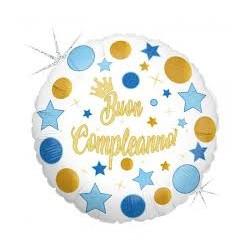 Pallone buon compleanno sparkling celeste e oro