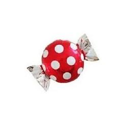 Pallone caramella rossa con pois bianchi