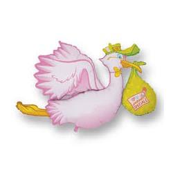 Pallone cicogna rosa super shape