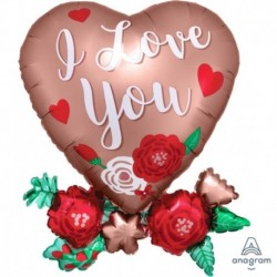 Pallone cuore fiorato I Love You 76 cm