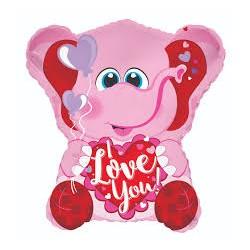 Pallone elefantino rosa I love you