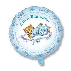 Pallone il mio battesimo con orsetto celeste