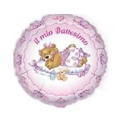 Pallone il mio battesimo con orsetto rosa