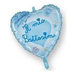 Pallone il mio battesimo cuore celeste BIG 80 cm