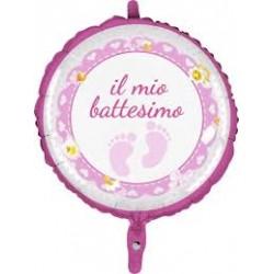 Pallone il mio battesimo piedini rosaPallone il mio battesimo piedini rosa