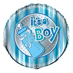 Pallone it\'s a boy argento e azzurro
