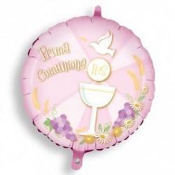 Pallone Prima Comunione mylar rosa 45 cm