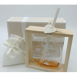 Profumatore cuore grande in vetro con supporto in legno