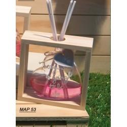 Profumatore cuore medio in vetro con supporto in legno