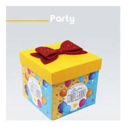 Scatola Tanti auguri di buon compleanno giallo e azzurro
