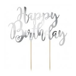 Scritta Happy Birthday argento