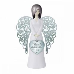 You are an angel: statuetta angelo con dedica La felicità non è una destinazione, è uno stile di vita 15,5 cm