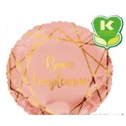 Pallone mylar Buon Compleanno Geoide rosa gold tondo