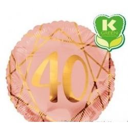 Pallone mylar tondo rosa gold Geloide n 40