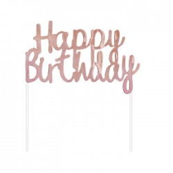 Topper scritta Happy Birthday rosa gold