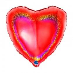 Palloncino 18 mylar cuore rosso glitter