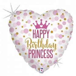 Palloncino cuore mylar Principessa glitterBirthday Princess