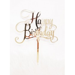 Cake topper plexiglass Happy Birthday oro