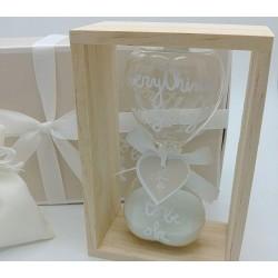 Bomboniera classidra grande in vetro cuore con supporto in legno