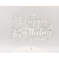 Cake topper Happy Birthday plexiglass argento