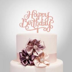 Cake topper Happy Birthday plexiglass rosa