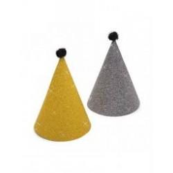 Cappellini in carta oro e argento 6 pz