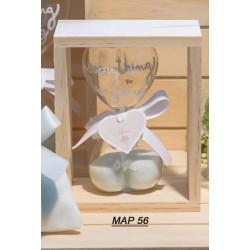 Clessidra cuore in vetro piccola con supporto in legno